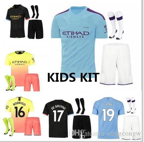 Çocuk Kiti 19 20 Şehir Kun Aguero Şehir De Bruyne Mahrez Futbol Forması 2019 2020 Kompany Bernardo See Gençlik Futbol Gömlek çorap ile