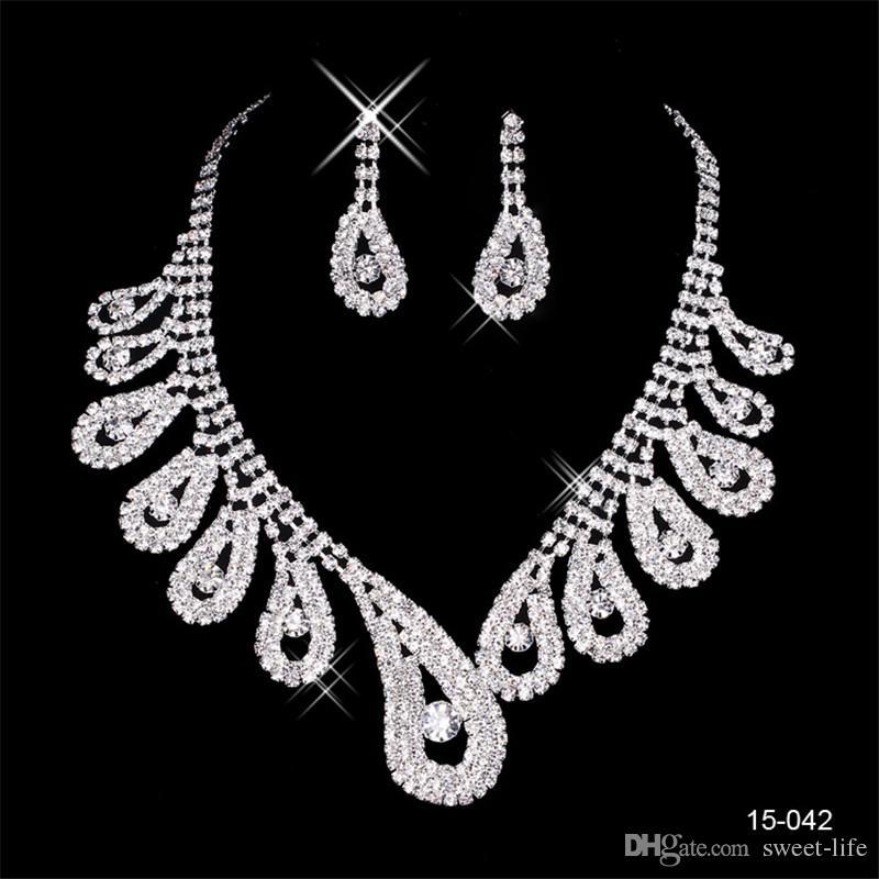 2020 أنيق الفضة مطلي قلادة اللؤلؤ حجر الراين الزفاف أقراط مجموعة مجوهرات اكسسوارات رخيصة للحفلة موسيقية مساء 150-42