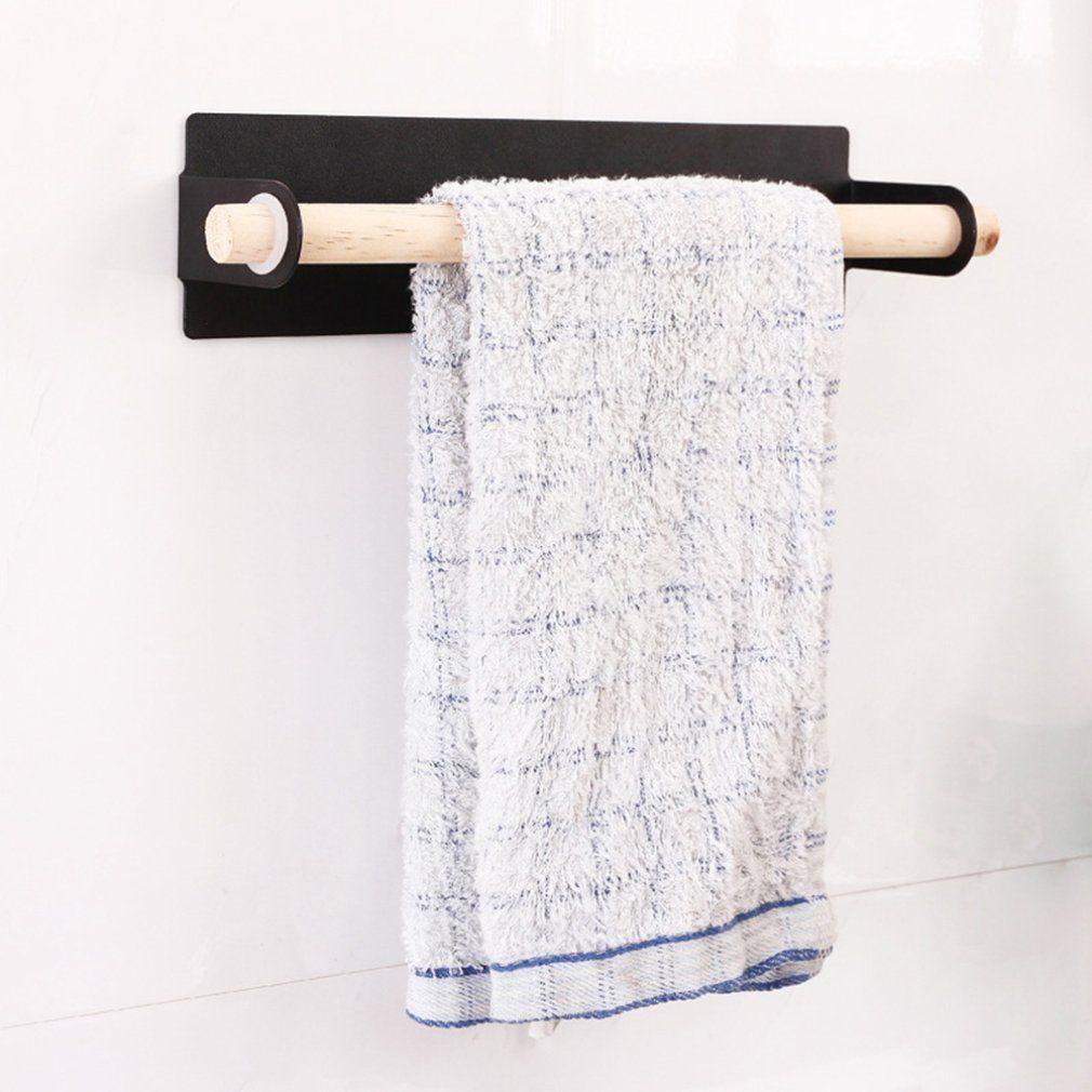 Metal wall hanging Holder wood towel Shelf bathroom Roll paper rag Holder plastic wrap film Storage Racks kitchen accessories