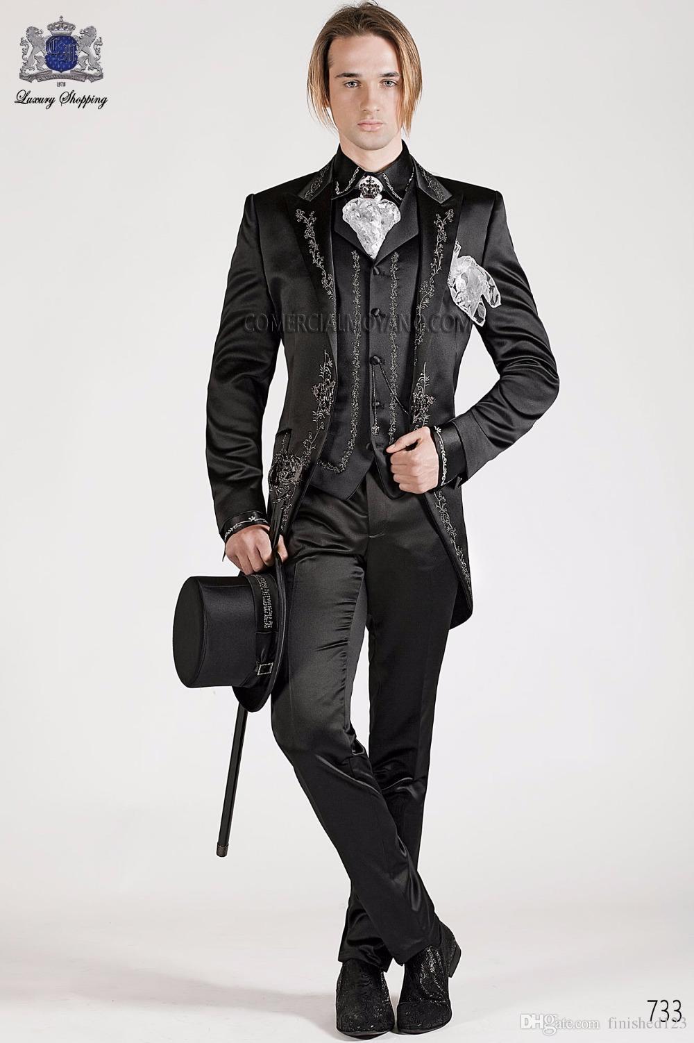 Moda Un Botón Negro Bordado Novio Esmoquin Pico Hombres Solapa Trajes 3 piezas Boda Prom Chaqueta (Chaqueta + Pantalones + Chaleco) W492