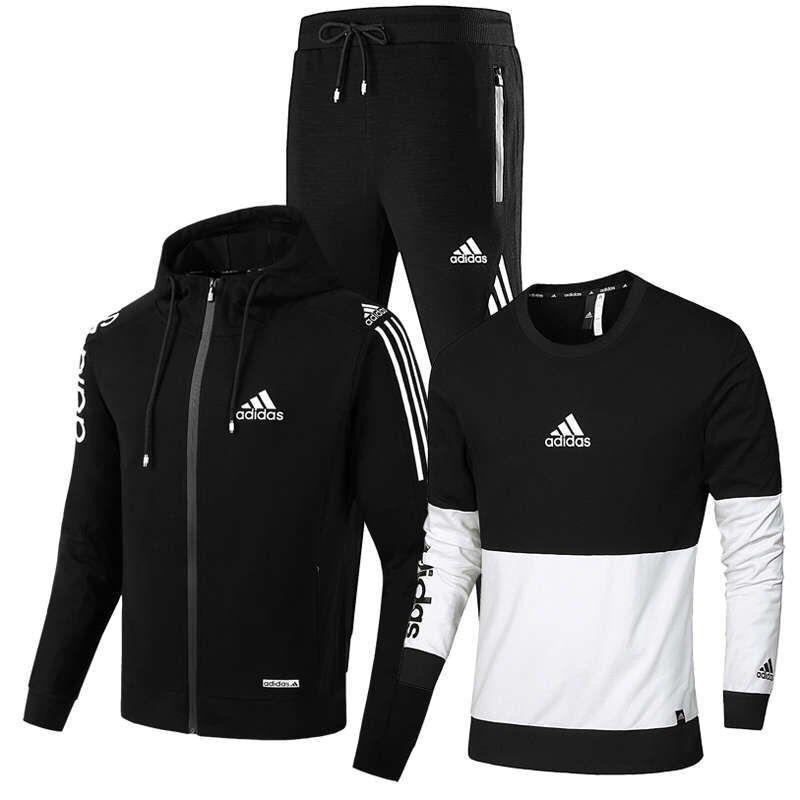 de Nova Men Marca Definir Primavera Outono Homens Sportswear 3 Piece Set SportingTrack Suits Jacket + Pant Sweatsuit encapuçado masculino Treino Set