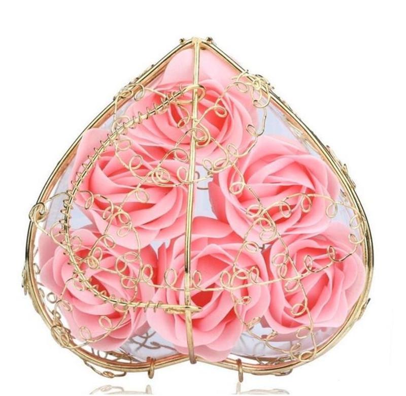 6pcs artificial rosa flor coração em forma de caixa de ferro banheira de banho sabão flor romântico sabão para o presente de casamento dos namorados