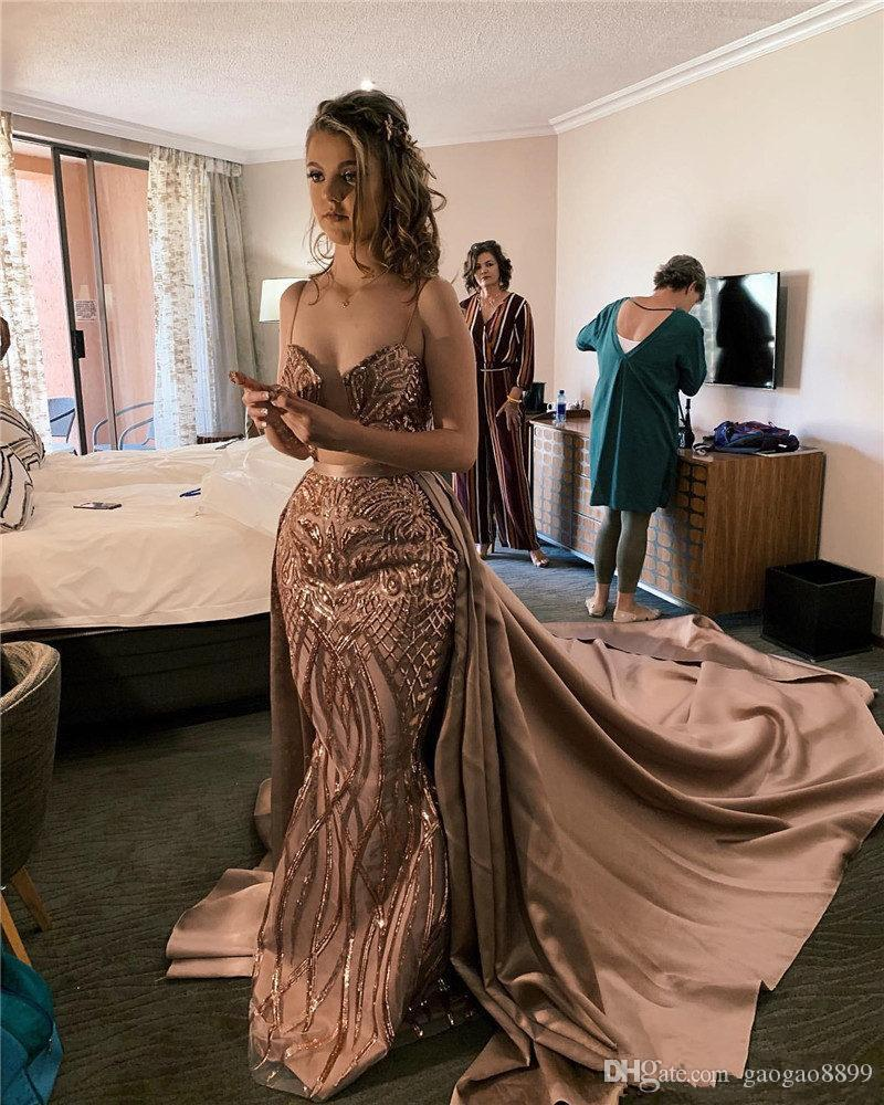 Arabic Dubai Champagne Spaghetti Mermaid Prom Dresses With Detachable Train Vintage Sequined Evening Gown Plus Size Formal Prom Party Gown