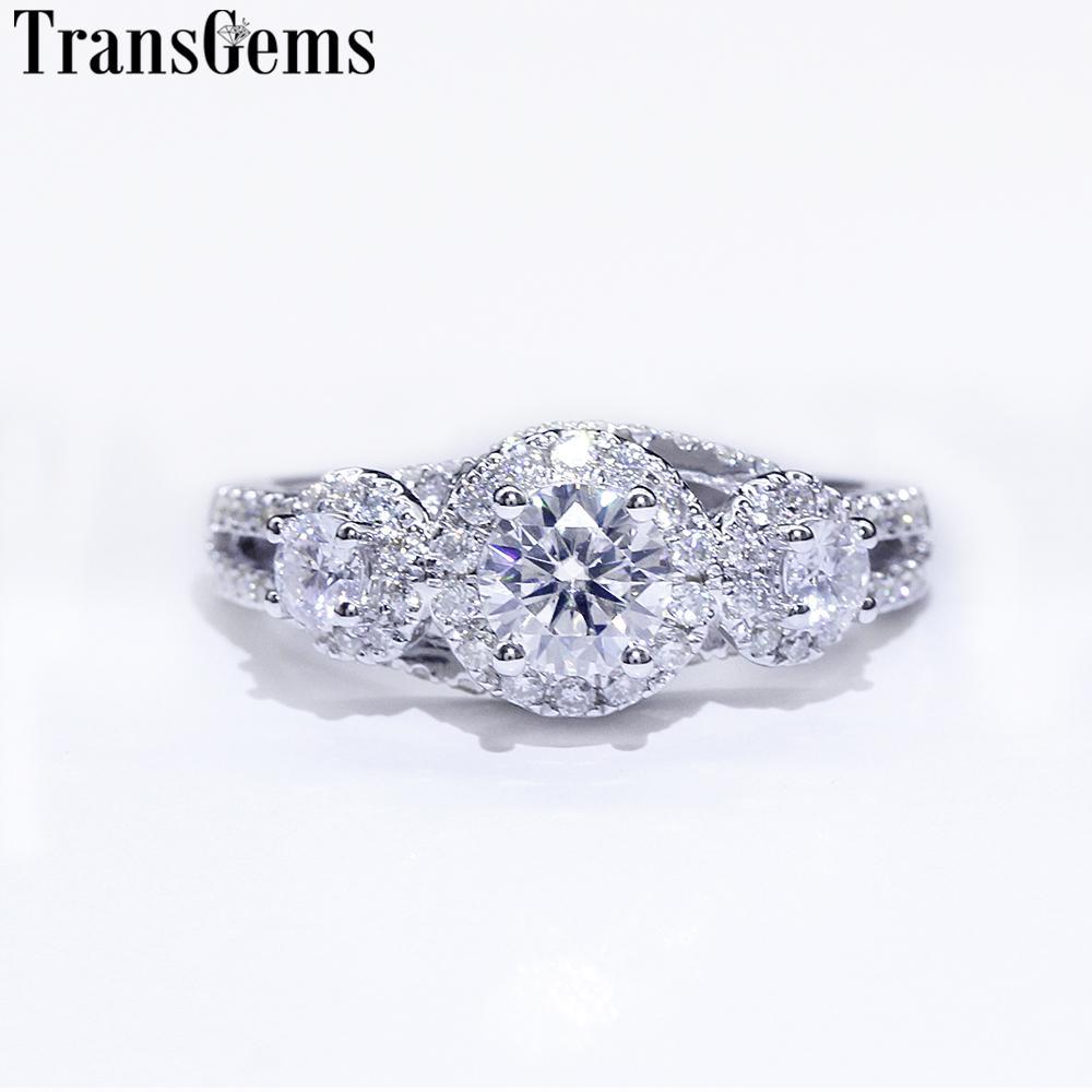 Обручальное кольцо Transgems Halo для женщин 14K Белое Золото 3 Камень Кольцо F Цвет Центр 5мм и 3мм 2Pcs Муассанит Алмазный S200117