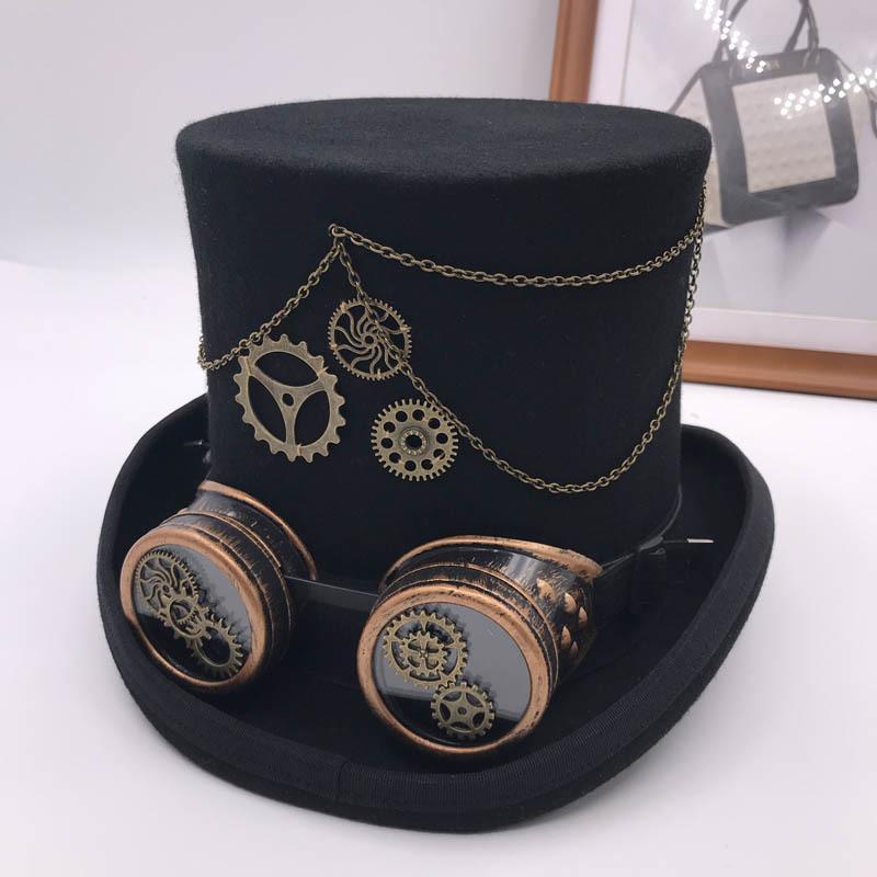 Takerlama خمر Steampunk جير نظارات الزهور الأسود قبعة نمط الشرير فيدورا أغطية الرأس القوطية لوليتا تأثيري قبعة 17 سم Y200110