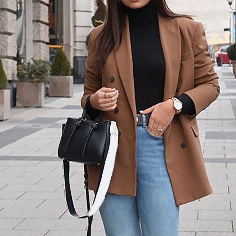 Мода женщины пальто коричневый с длинным рукавом отложным воротником костюм куртки негабаритных элегантный Леди офис верхняя одежда кнопка коричневый свободные топы