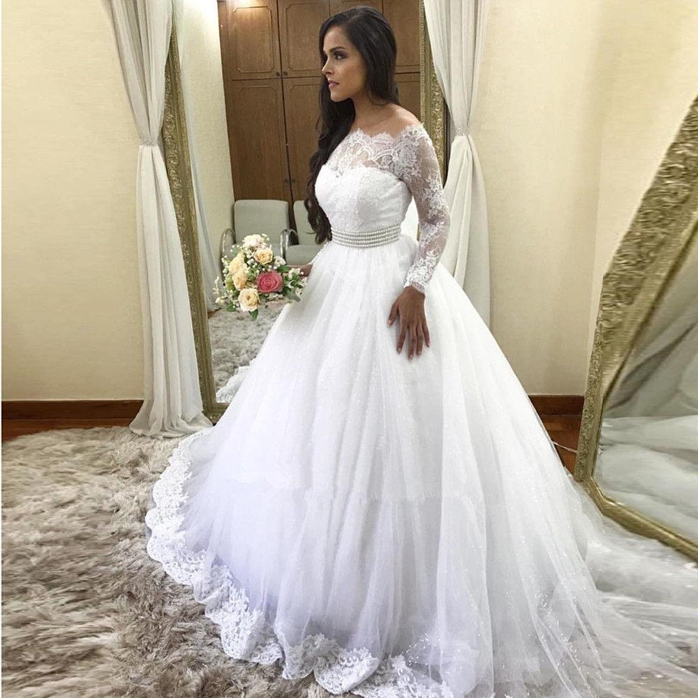 Vestido de Noiva 2020 Великолепное кружево свадебные платья с длинным рукавом с плеча Тюль свадебное платье на заказ халат де Марие