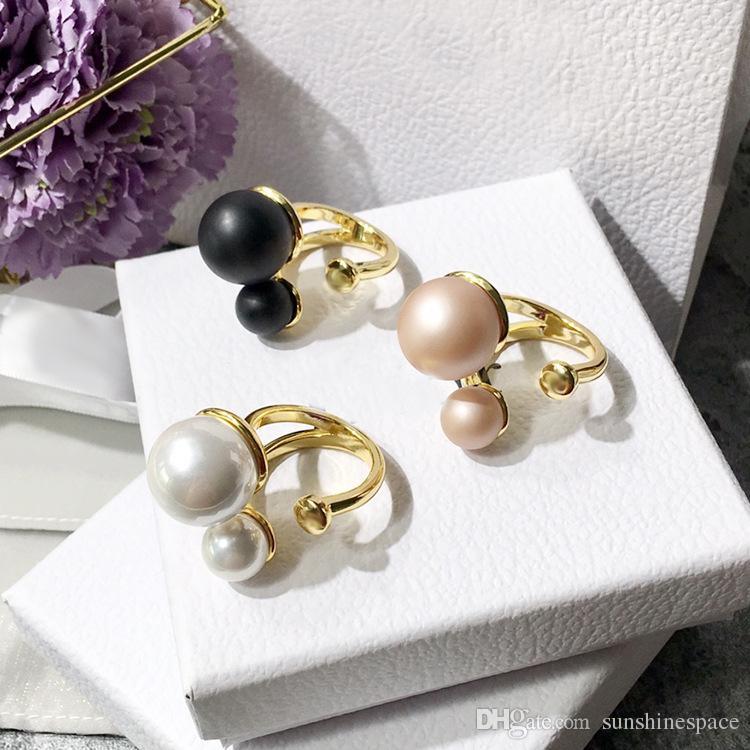 TYME Hohe Qualität Marke Edelstahl Doppel Perle Ring Für Frauen hochzeit paar ring Bunte Stein Pulseira feminina schmuck