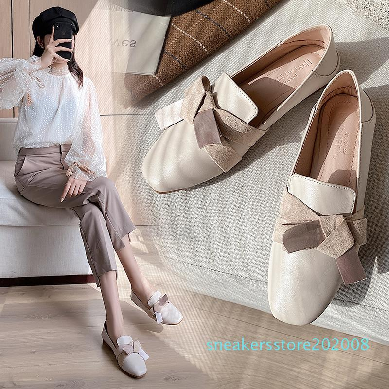 Le donne scarpe basse Flock nero a colori di autunno della molla femminile singolo scarpe Piazza cristallo Toe Slip-On appartamenti delle donne fannulloni S08