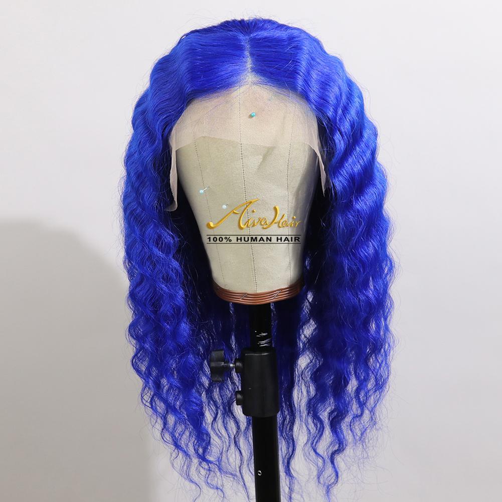 Bleu foncé de dentelle perruques de cheveux humains avec bébé cheveux vague profonde 150% Densité transparente colorée pleine Remy Glueless Perruques
