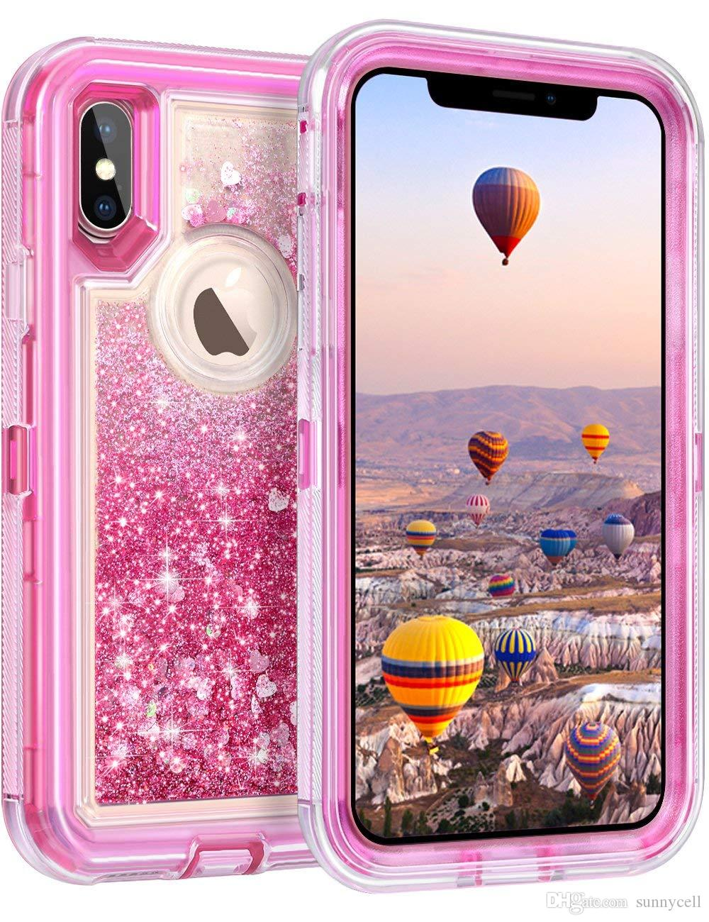 For Iphone 6 7 8 6plus 7plus 8plus X Xr Xs Max Cute Bling Liquid Glitter Floating Quicksand Water Flowing Ultra Phone Case Jeweled Cell Phone