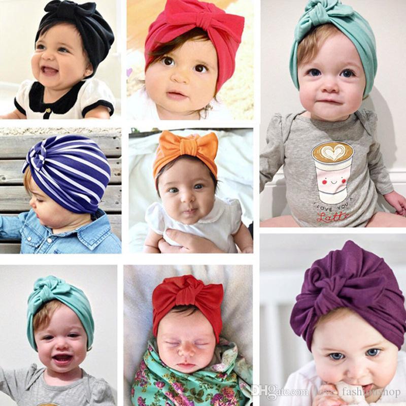 جديد دارى الرضع القوس معقود القطن مصمم القبعات القبعات الاطفال قبعة رباطات مناديل الاكسسوارات طفلة شعر الأطفال قبعة عمامة