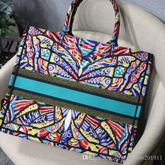 Высочайшее качество Вышивка Мульти красочные Цветы Покупки Цветные Сумки Сумки Известный Сшивание Шаблон Дизайнер Модный Бренд Классический Бесплатный MJGN