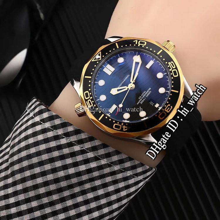 New 300M Dive 210.22.42.20.01.001 Two Tone Yellow Gold Black Bezel Dial Automatic Mens Watch Black Rubber Watches Cheap Hi_watch B266F6