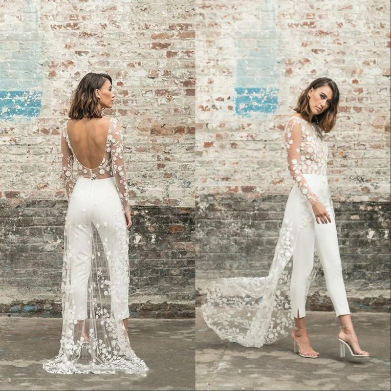 Beach Jumpsuit Wedding Dresses Jewel Neck Long Sleeve Backless Ankle Length Bridal Outfit Lace Summer Bride Gowns