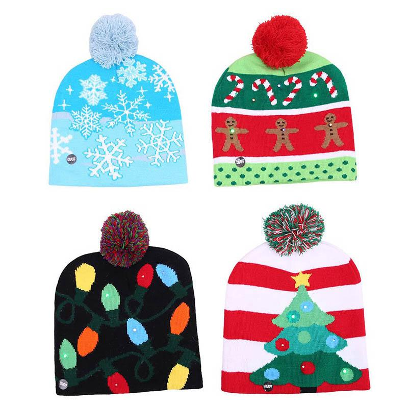 LED Christmas Beanie Ugly Christmas Sweater Tree Hat Beanie Light Up Knitted Hat for Children Adult Party