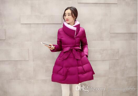 Free shipping new fashion high quality cute warm women's thick cotton coat slim long solid color bow coat four colors optional 888