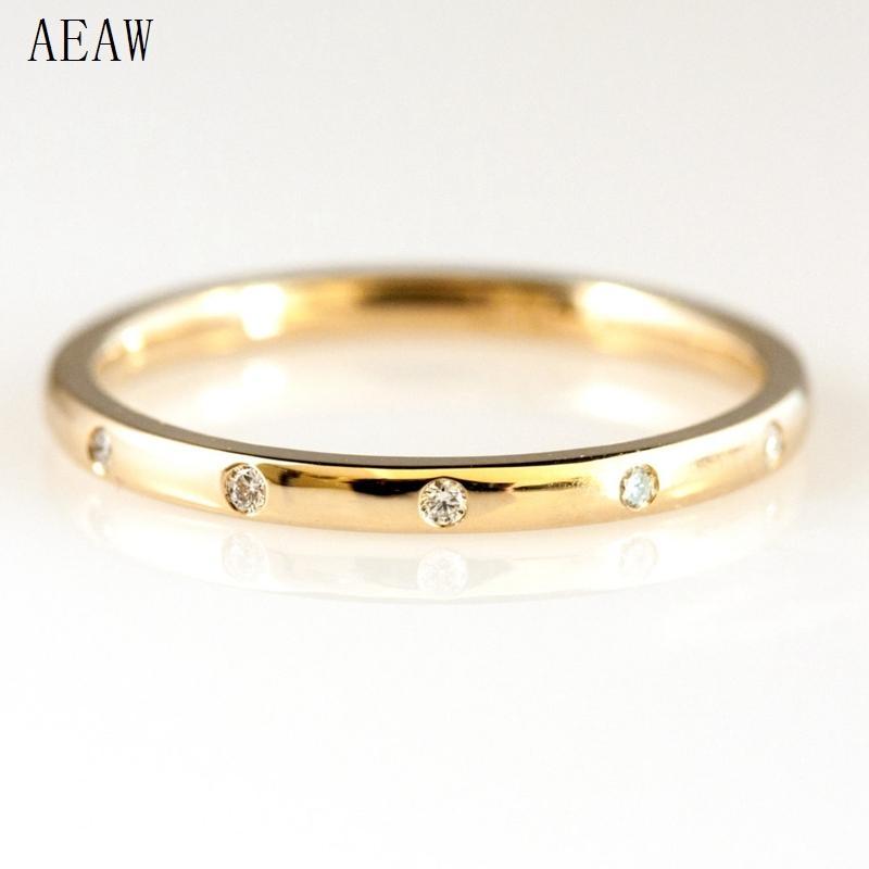 0.05ctw 1.3mm 5-Stones Style Natural Diamond Wedding Band Bezel Setting Round Diadmond Band Ring 14k Yellow Gold T200701