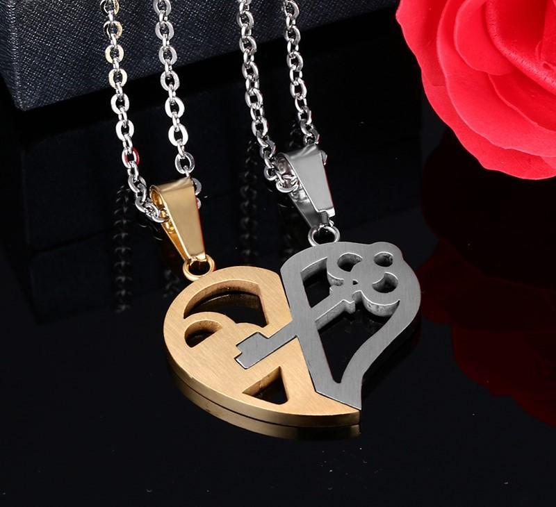 Mode-Double Demi-Coeur Couple Collier femme Homme en acier inoxydable Bijoux Saint Valentin Mode cadeau Colliers Pendentifs