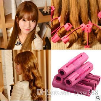 DIY Red 6pcs/set Auto-stick Sleeping Beauty Magic Rollers No Hurt Sponge Hair Curlers Hair Care & Styling Tools HA045