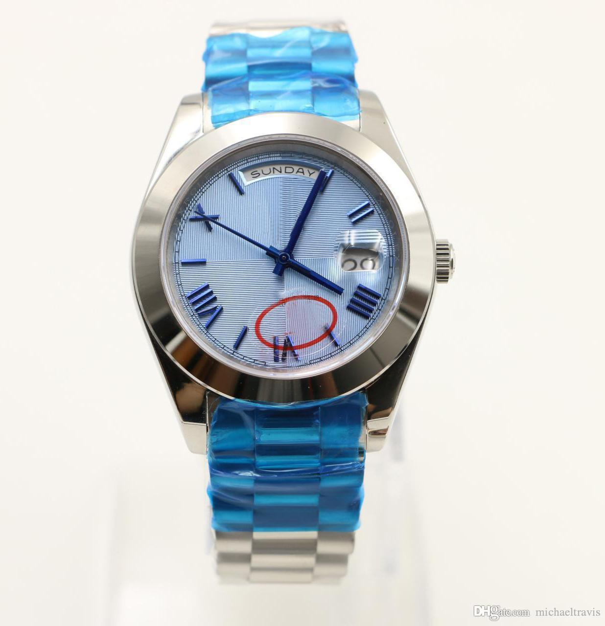 Hot sell 40MM Classical Mens automatic Watch Watches day date display round blue striped dial president strap stainless watch case