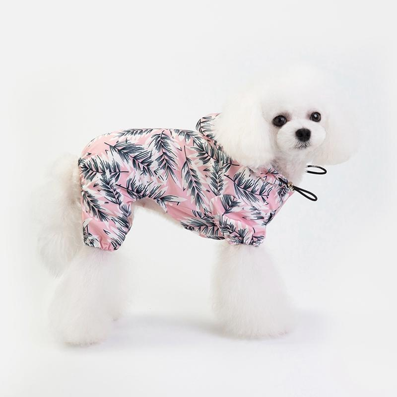 Detachable Rain Jacket Dog Raincoat Pet Waterproof Dogs Water Resistant Clothes Floral Patterns Trench Coat for Rainy Day T200328