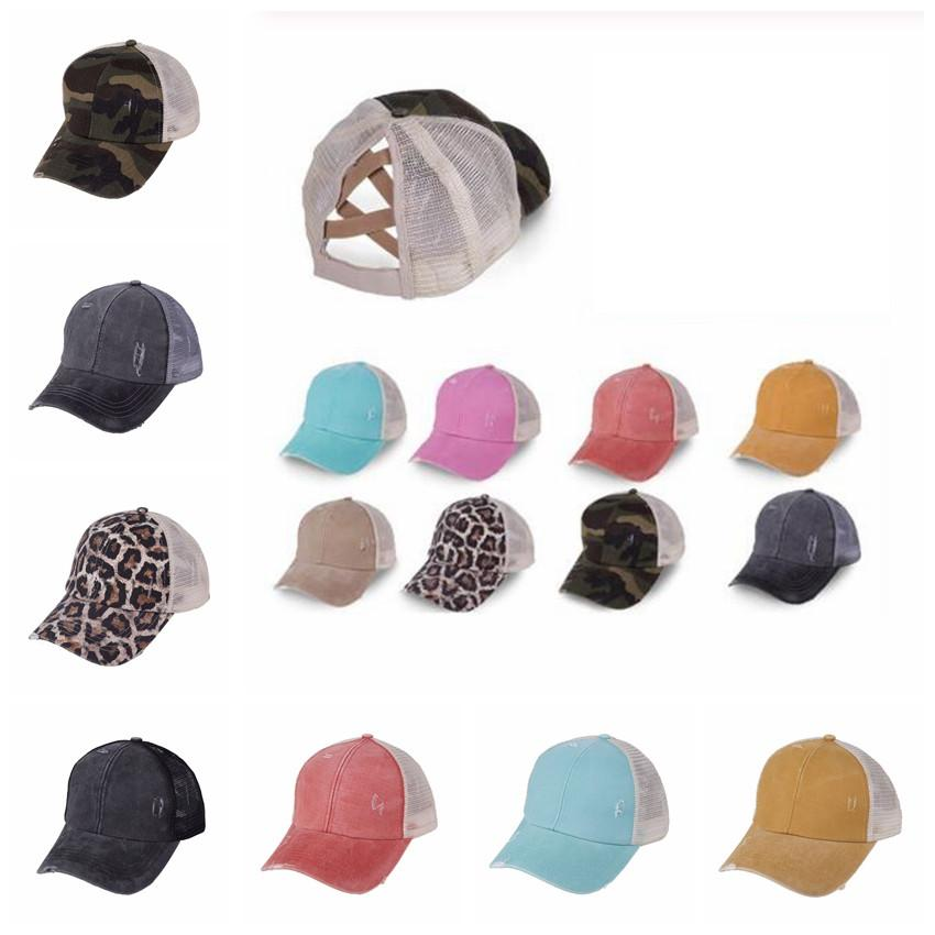 Ponytail Baseball Cap 10 Colors Messy Bun Hats For Women Washed Cotton Snapbacks Casual Summer Sun Visor Outdoor Hat CCA12271 120pcs