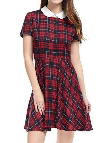 알레그라 K 여성용 끈 팬티 대비 피터팬 칼라 훅 퍼프 슬리브 플레어 드레스