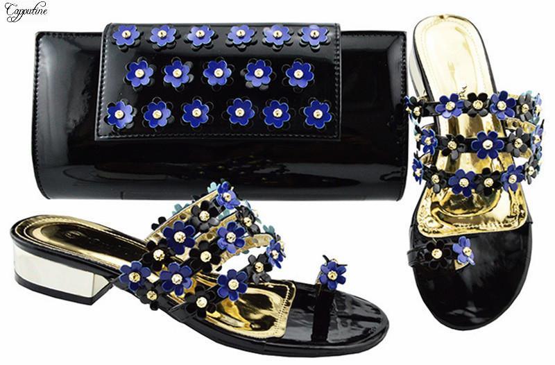 Venta caliente Negro Azul Con Apliques inferior africana talón de los zapatos y el bolso deslizador Conjunto para la señora JZC006 3 cm altura del talón