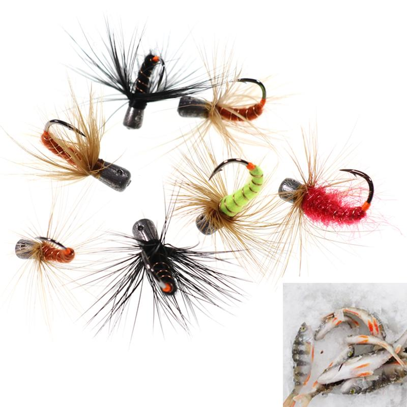 Lures 6pcs Winter Pesca Fast Sinkin Hook Fly Bait Weihted Fishing Fly Worms Ice Fishing Jigs 1g 0.7g 0.5g 0.3g
