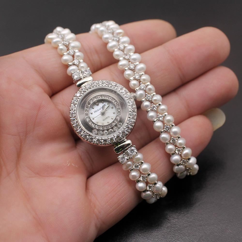 Classic Fashion Jewelry High-end Multi-pearl Combination Pieces Of 925 Sterling Silver Charm Bracelet Watch H201 C19021501
