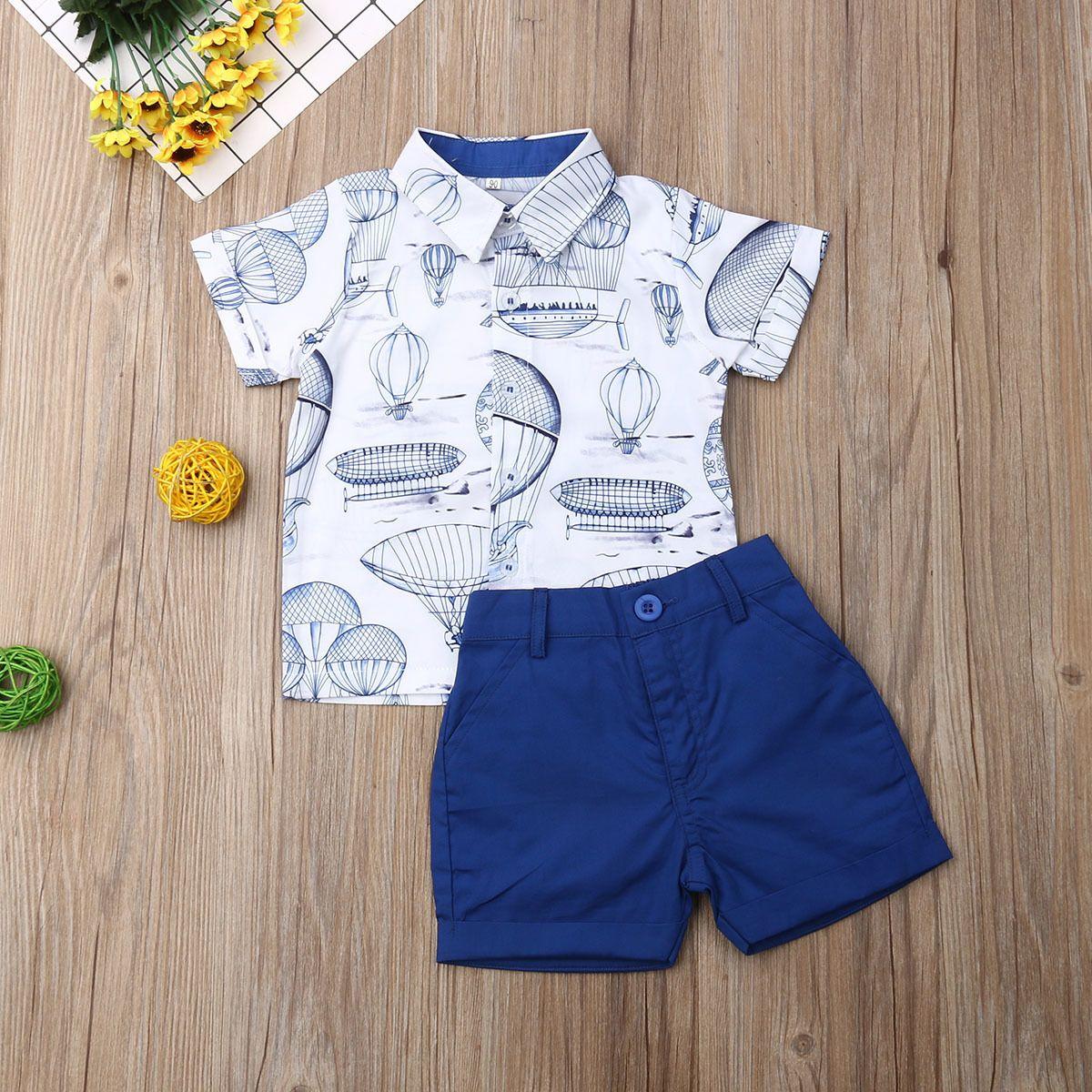 tiefblaues Kleinkind Kinder Gentleman Outfit Baby-Kleidung stellen Kinder formale Klage Camo Hemd Top + Shorts Jungen-Sommer-Kleidung 2pcs 1-6T 2020