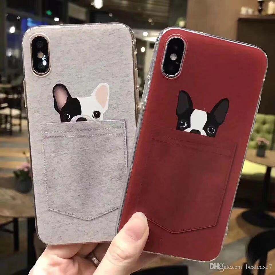 Venta caliente en relieve bolsillo linda del perro de los ciervos a prueba de golpes de goma de silicona TPU teléfono caso de la cubierta del iPhone Para 6S 7 8 Plus X XS MAX XR