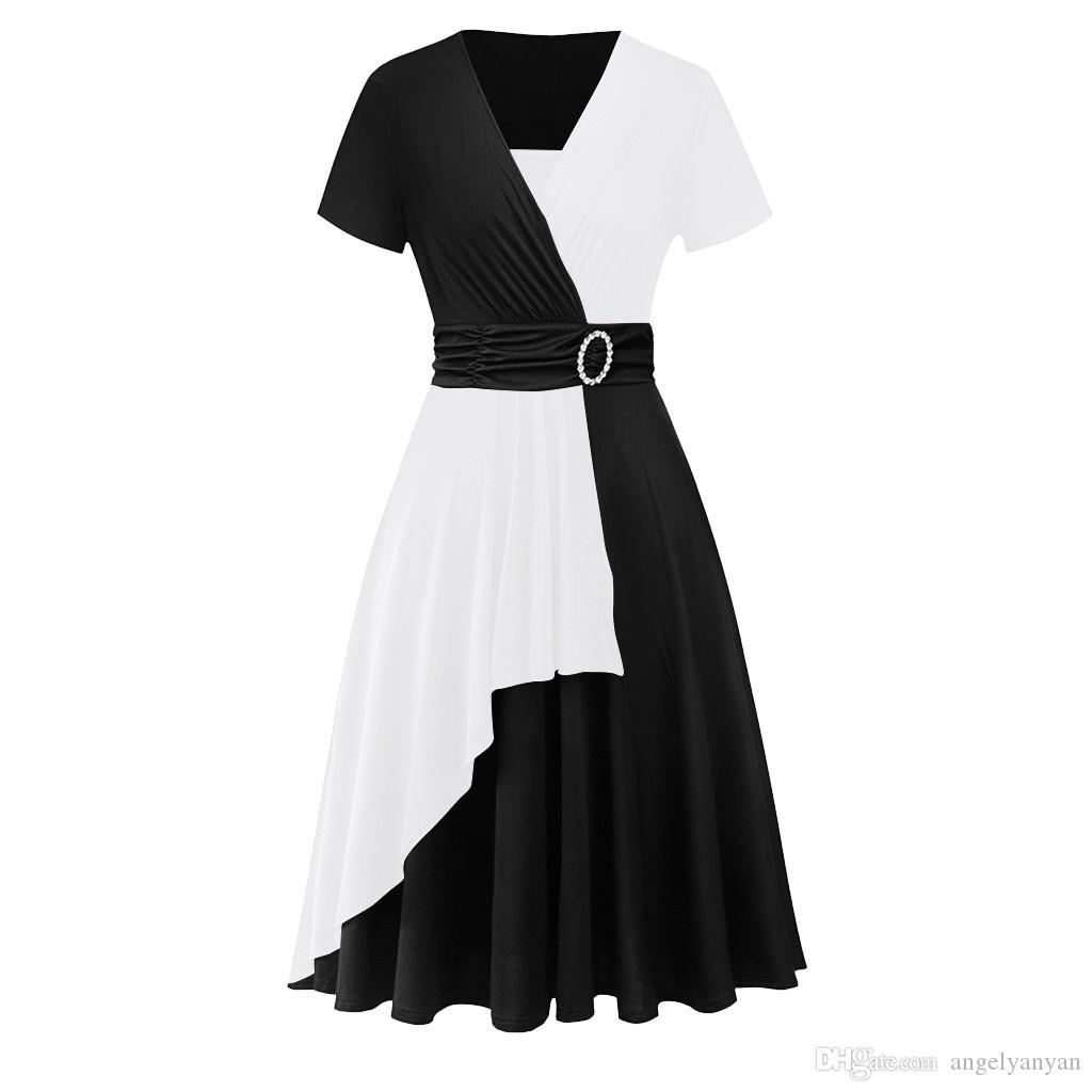 Donne si veste più il vestito estate 2020 Vestito nero sexy casuale di nuovo modo orlo asimmetrico con scollo a V increspato partito Sukienka Cekiny