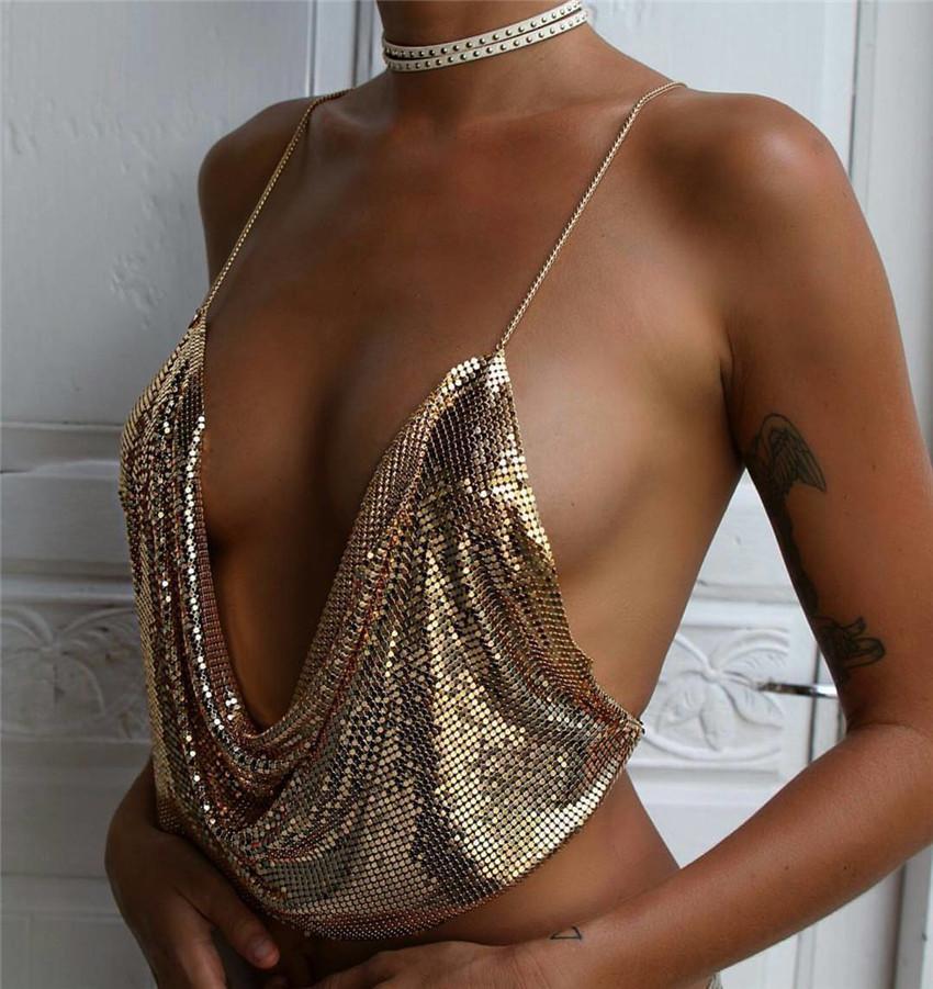 Métal Femmes Débardeur Plage Dos Nu Drapped Profonde V Cou Paillettes Sexy Élégant Club Party Halter Crop Tops D'Été Cristal Diamant Bustier