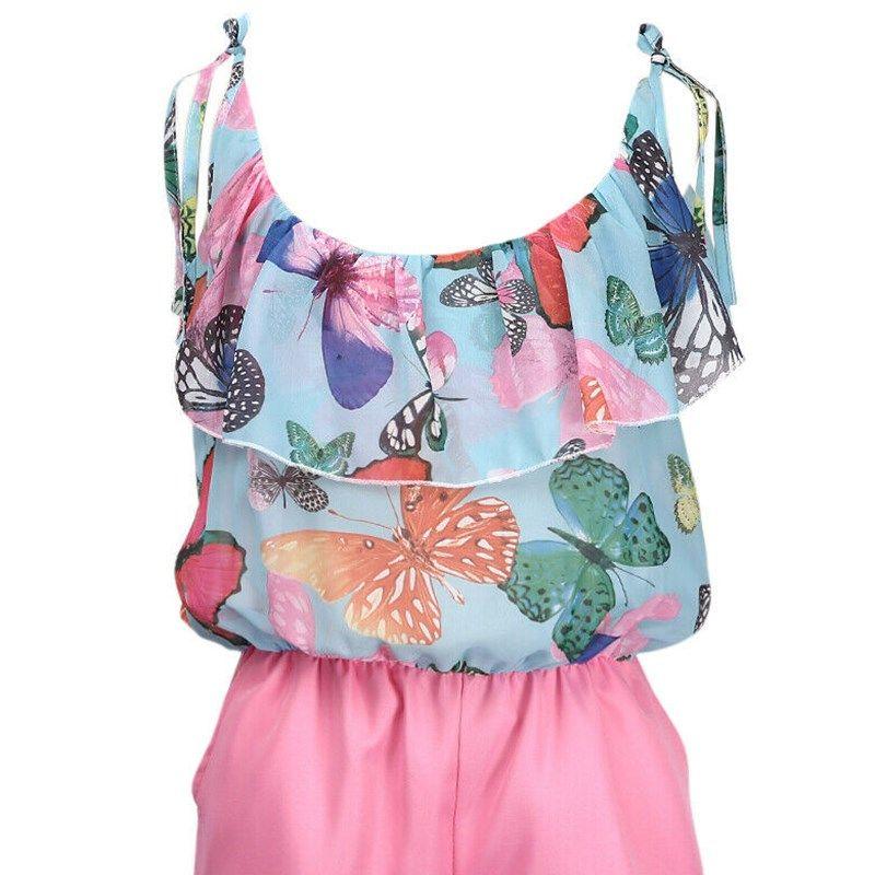 Neue Frauen Floral Boho-Bluse Sleeveless Ruffled Ansatz beiläufige Shirt Sweet Jumpsuit