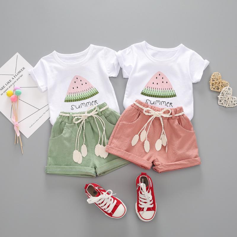 2020 Nouveau tout-petits Enfant Bébé filles Tenues Casual manches courtes Pastèque T-shirt imprimé couleur solide Bandage Shorts Vêtements fille