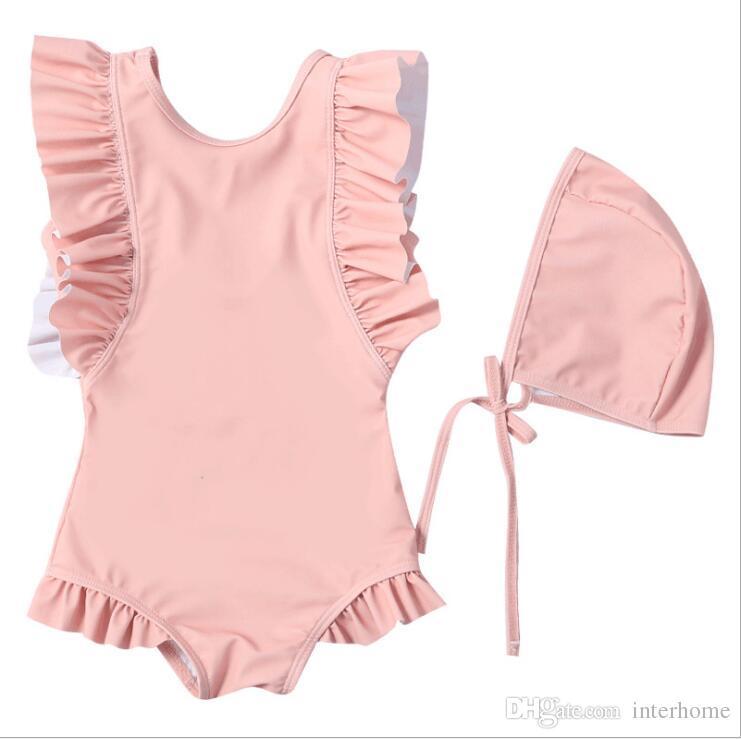 Kids Swimwear Girls One-Pieces Bikini Swim Caps Baby Summer Ruffle Swimsuit Shaggy Swimming Rompers Skirt Surf Beachwear Bathing Suits B5492