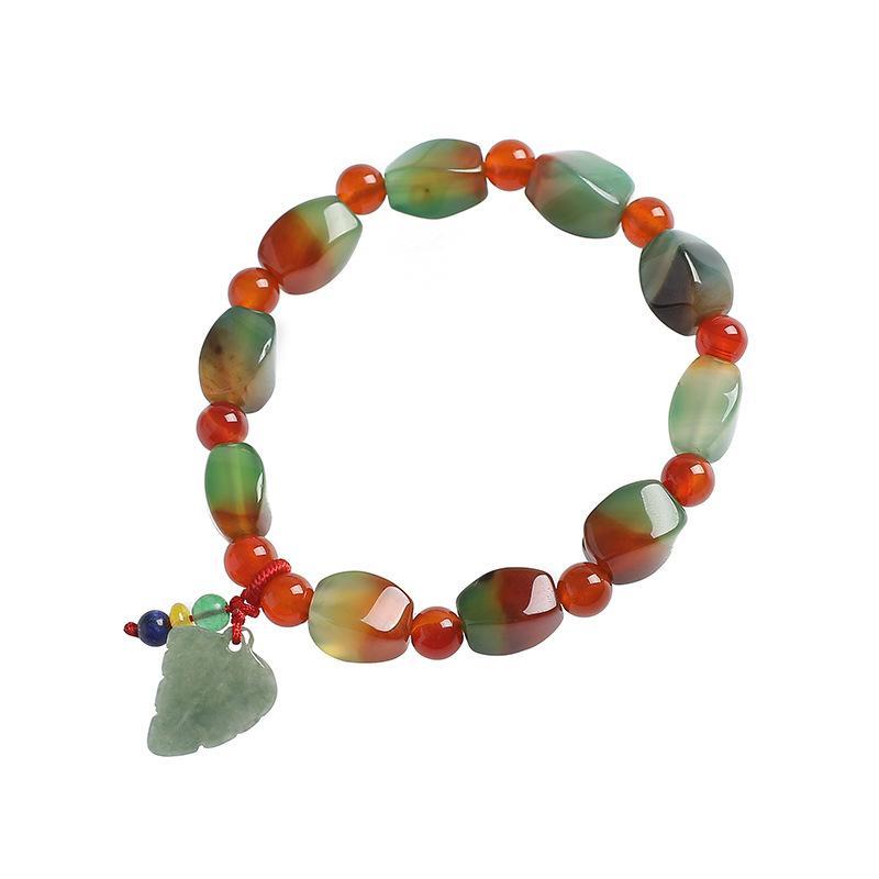أزياء العنبر سوار العقيق حجر الخرز بوذا أساور للمجوهرات النساء والرجال الطاقة عضو قديم