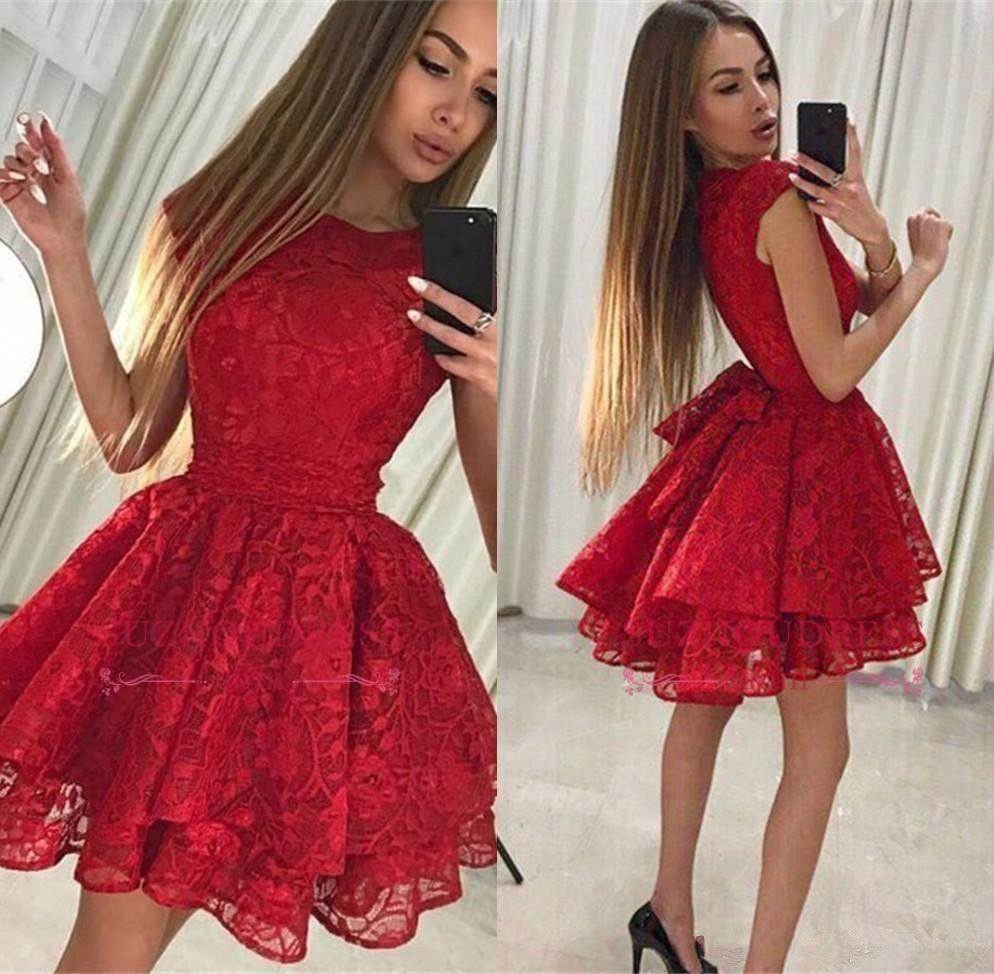 2019 economici abiti da ritorno a breve in pizzo rosso Estate A Line Juniors Cocktail Party Dress Plus Size Custom Made Pageant Prom Dresses