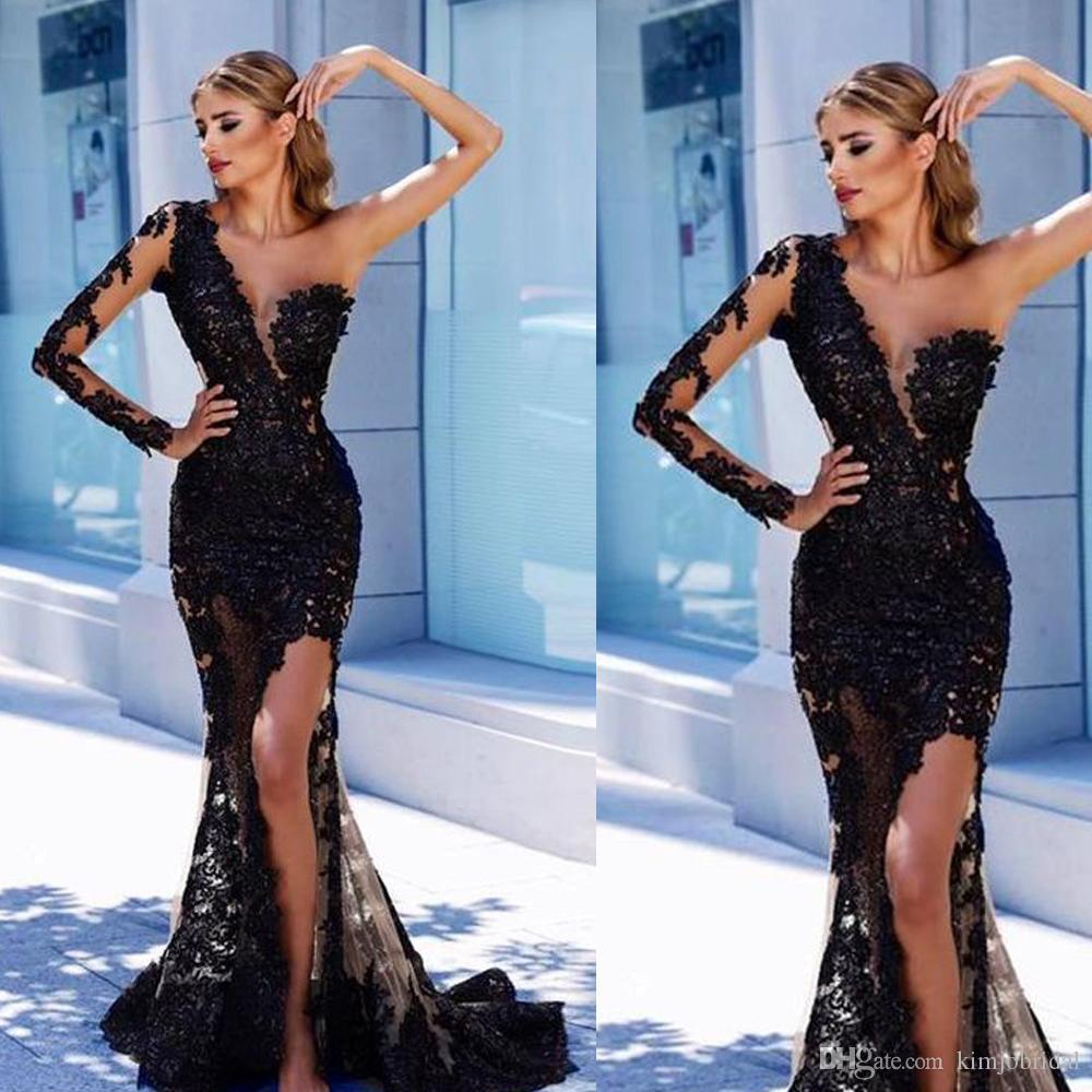 Черные платья выпускного вечера кружева 2019 одно плечо с длинным рукавом кружева аппликации русалка вечерние платья платья арабский