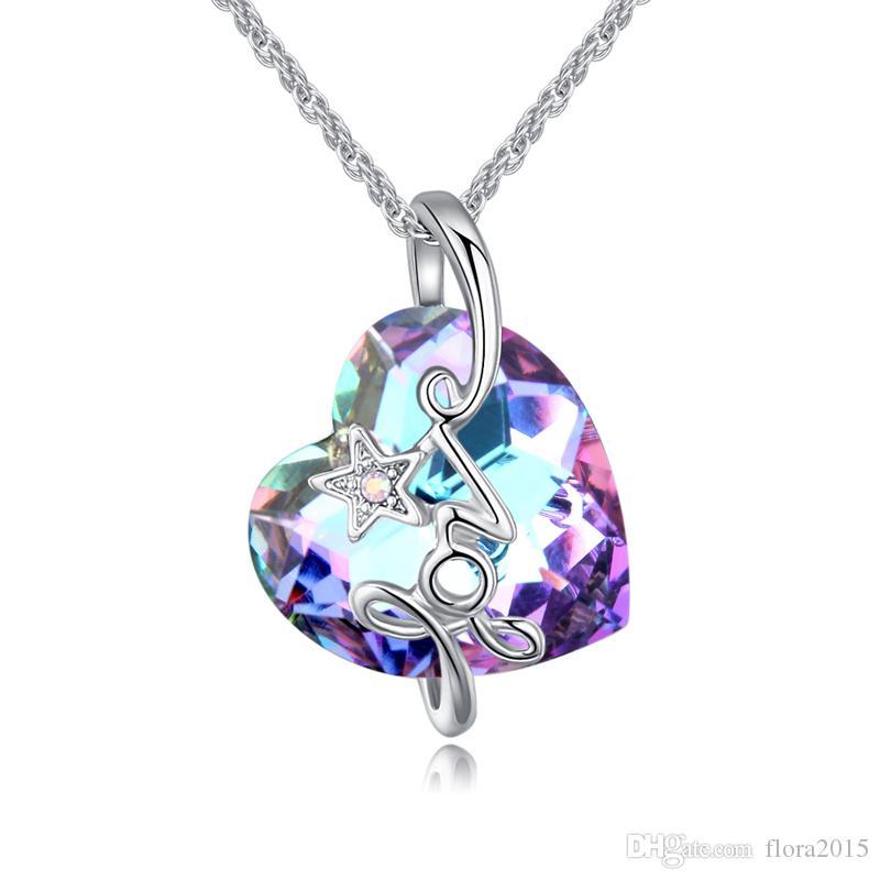 Orijinal Kristaller Swarovski Gelen Kalp Kolye Kolye Kadın Severler Gümüş Renk Maxi Collares Için sevgililer Günü Hediyesi