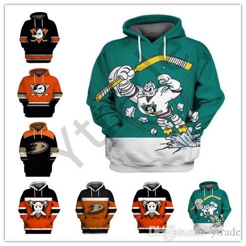 Anaheim Mighty Ducks Wild Wing capucha 9 Paul Kariya 8 Teemu Selanne 15 Ryan Getzlaf 17 Ryan Kesler cosido cualquier nombre Número de hockey con capucha