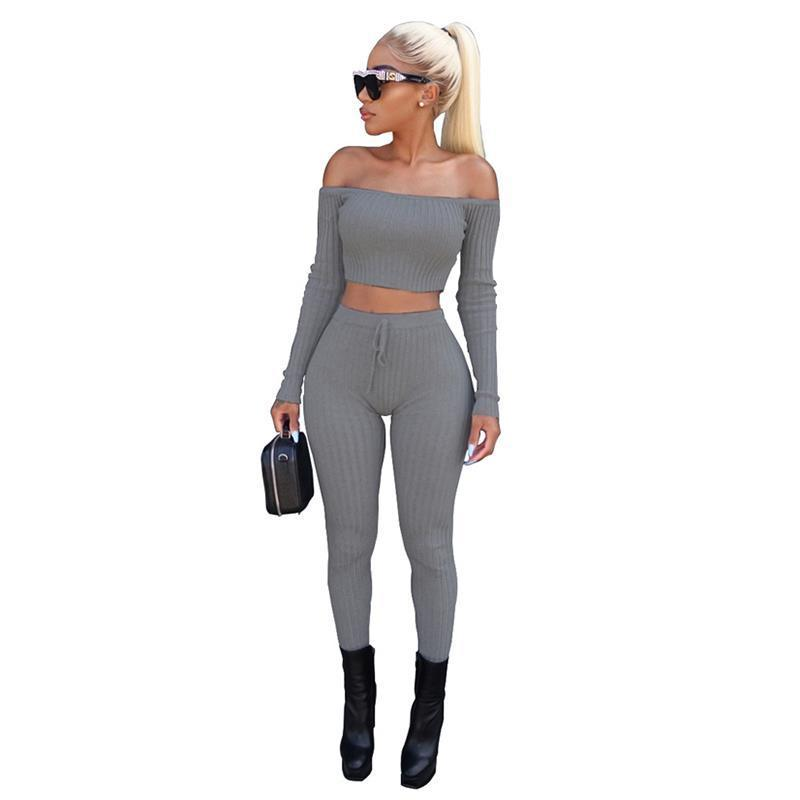 Fashion 2 Piece Set Women Off Shoulder Crop Top and Long Pants Suit Ladies Sexy Leisure Two Piece Tracksuit New Female Funny