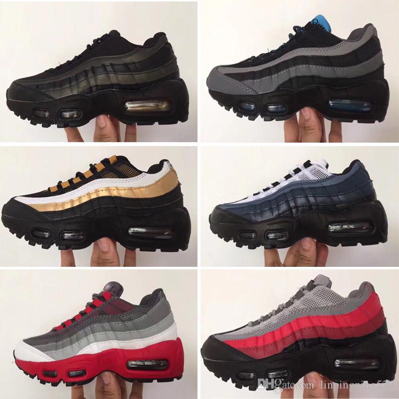 Nike air max 95 Baby Kids Марка Классическая Tn Runnning Shoes OG Юбилейные Мальчики Девочки Спортивная Обувь Тройной Черный Детские Дизайнерские Кроссовки Кроссовки Теннис