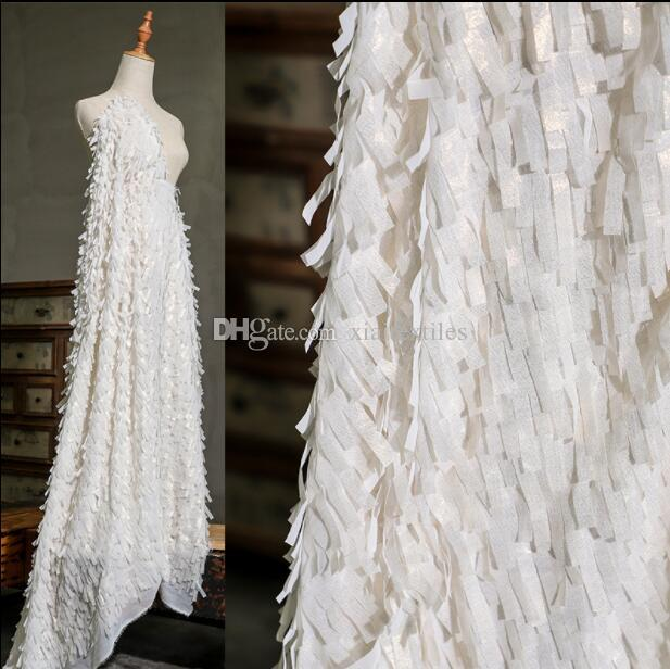 Two style Three-dimensional striped feather tassel mesh clothing textiles fabric dresses wedding gauze party tweed diy mannequin fabric A445