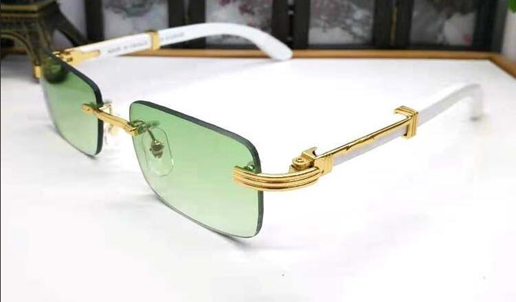 All'ingrosso-best-seller Rimless Occhiali da sole per le donne Natura corno di bufalo sunglasse Mens Guidare Ombra occhiali di design occhiali da sole di vetro