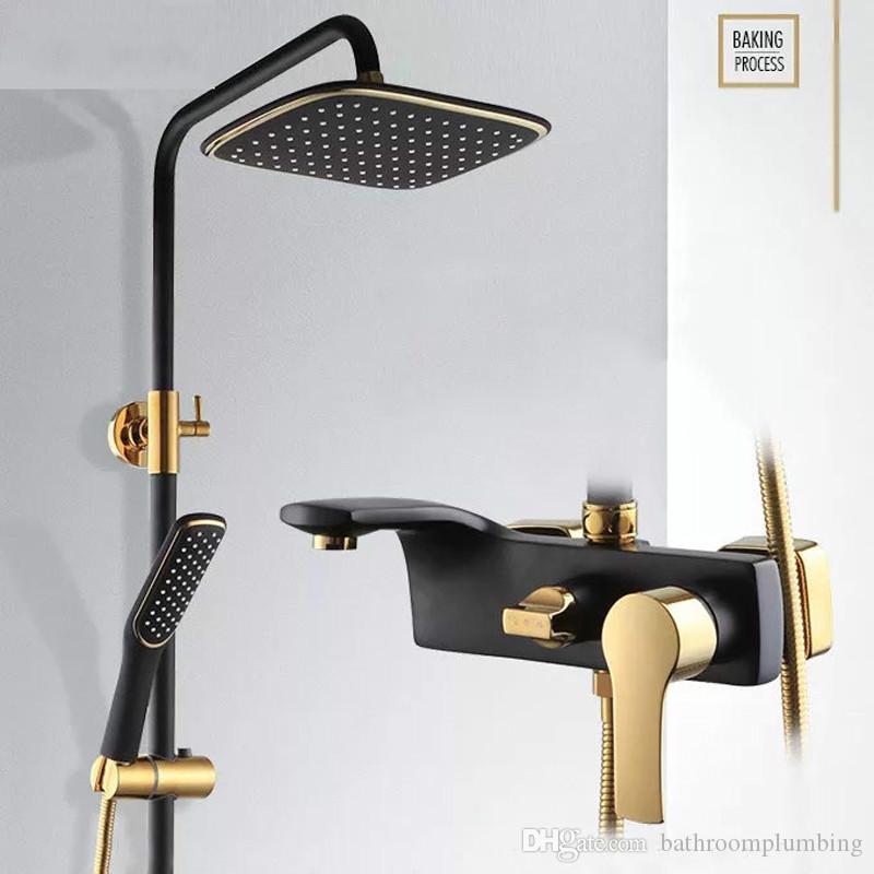 Wc dusche kit gold dusche wasserhahn bronze schwarz dusche wasserhähne beste geschenk für neue dekoration badewanne wasserhahn