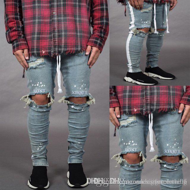 Mens Holes 19SS Jeans Frühling Sommer Ripped gestreifte Hosen Herren-Hosen-dünne Zipper Designer Hosen