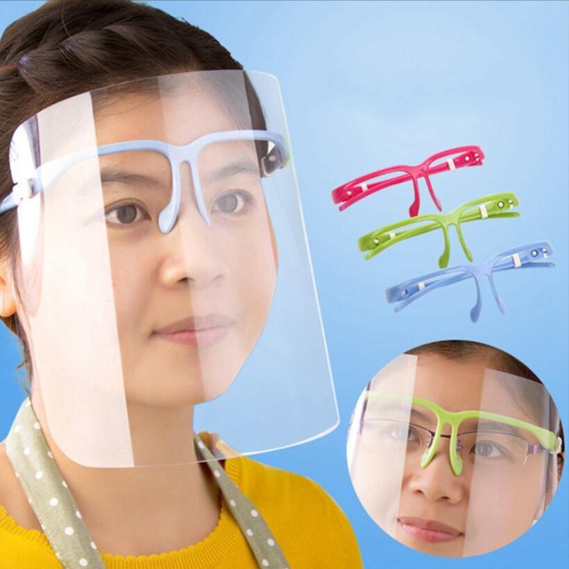 투명 페이스 실드 마스크 클리어 안티 먼지 보호 마스크 풀 페이스 선글라스 홀더 얼굴 보호 마스크 커버 LJJA3955